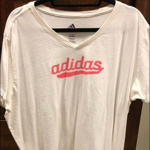 White and coral adidas T-shirt